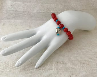 APHRODITE Coral & Sleeping Beauty Turquoise Healing Bracelet CTB23
