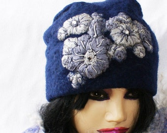 9ea27e323b2 Wool Hat Embroidered Flowers Warm Windproof Wool OOAK Hat Dark Blue Winter  Felted Hat Grey Embroideries Handcrafted Felt Hat ECO Fashion