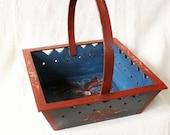 Norwegian Rare Wooden Basket with handle Scandinavian Folk Art Norwegian Rosemaling Old Storage basket Handcrafted in Norway