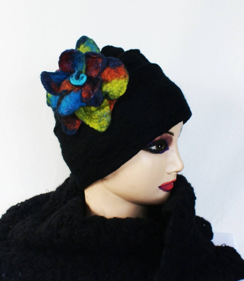 416f75867a920 Womens Wool Hat Art Hat Felted Beanie Felt Unique Black Design