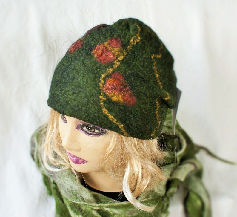 862a17843e449 Green Wool Felt Hat Olive Womens Beanie Felt winter hats for