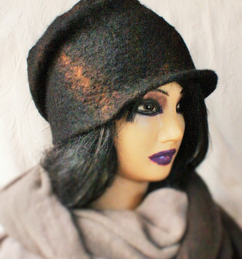 c3d94ac28 Warm Slouchy Hat Visor Windproof OOAK Design Wool Hat Felt Hat Beanie with  brim Beanie With Visor Norwegian wool Slouchy beanie Eco hat