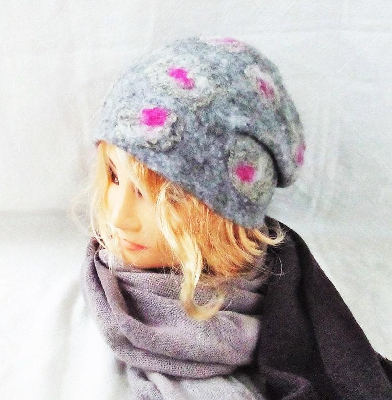 5737c06fe Felted Warm Wool Hat Norwegian wool Handmade i Norway Scandinavian style  OOAK Beanie ECO Fashion Felt Grey Purple Pink Hats