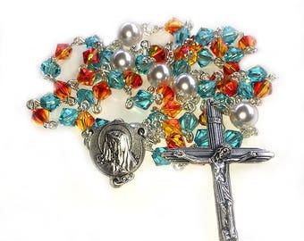 Blue & Flame Orange Swarovski Crystal Rosary