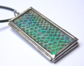 The snake that ate the unicorn real snake skin opal glass soldered pendant
