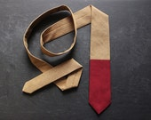 Handmade Chambray-Block Necktie. Caramel and Red.