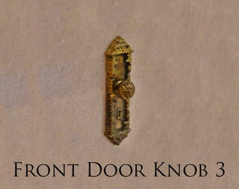 1:12 Gold Metal Door Knocker Lock Doorplate Set Dollhouse Hardware MiniatureFEH