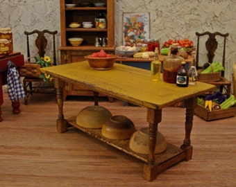Rustic Kitchen Work Table with Mustard Plank Top ~ 1:12 Scale Miniature Dollhouse Furniture