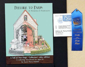 "Coloring storybook - ""Prelude to Paris"" - Australian cattle dogs - ""Dollhouse Dogs"" architectural dollhouse minatures"