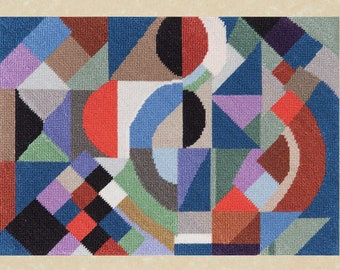 """Needlepoint kit to create one 6""""x8"""" miniature tapestry, designed from a 1968 Sonia Delaunay original tapestry."""