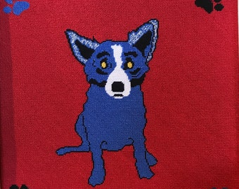 """Needlepoint kit -- George Rodrigue's """"Blue Dog"""" -- to make one 12""""x12"""" tapestry"""