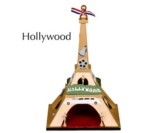 "Eiffel Tower - ""Hollywood"" - Miniatures and gold paint on wood"