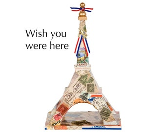 "Eiffel Tower - ""Wish You Were Here"" - Decoupage on wood - Mixed media art piece"