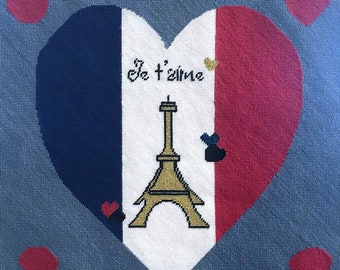 """Needlepoint kit -- """"Je t'aime, Paris"""" -- to make one 12""""x12"""" tapestry"""