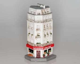 Brasserie and Tabac Bar -- Collectible miniature French building storefront