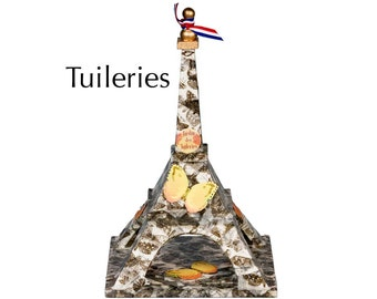"Eiffel Tower - ""Tuileries"" - Butterfly tape and ornaments on wood - Mixed media art piece"