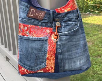 The Trendy Hobo Denim Jeans Bag: upcycled ripped denim tote with brocade accents, inside and outside pockets