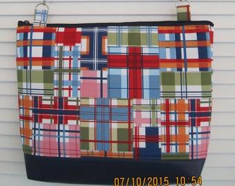 Shoulder or crossbody laptop bag in preppy madras: The Stephanie Bag