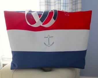 Large nautical motif tote