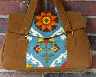 Suede purse with turquoise overlay in Southwestern theme