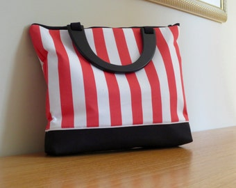 Laptop Bag in nautical motif holds 13'' laptops or larger: The Stephanie Bag