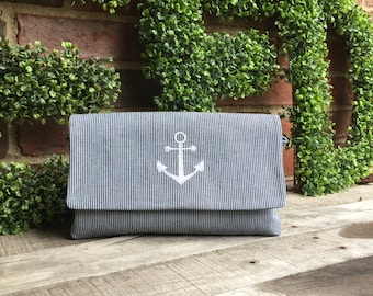 Nautical Clutch Purse with Embroidered Anchor on front
