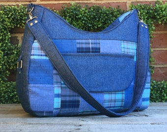 Chloe Bag: large cushioned madras and denim tote with lots of pockets