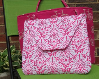 Beautiful linen blend tote with separate laptop sleeve