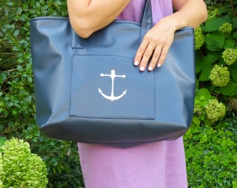 Large nautical tote bag with lots of pockets