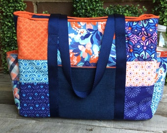 The Emily Tote: vibrant tote with oodles of pockets and top zipper closure