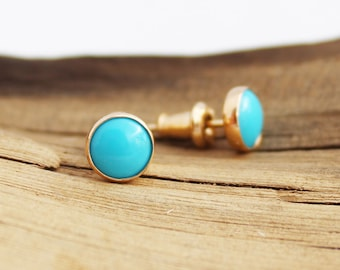 Blue Mojave turquoise earrings Clearance sale Dainty turquoise earrings gold filled and rose gold wrapping Available in sterling silver