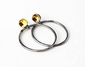 Silver and Gold Hoop Post Earrings. Mixed Metal Earrings. Oxidized Silver Earrings.