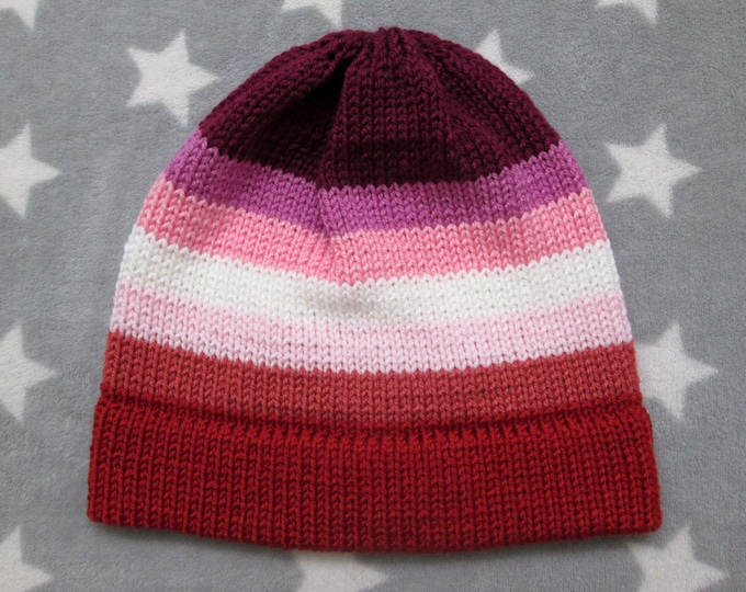 Knit Pride Hat - Lesbian Pride - Fitted Beanie