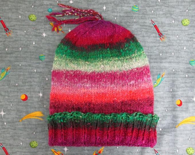 Knit Slouchy Noro Hat - Watermelon Raspberry - Cotton Silk Wool Nylon Blend