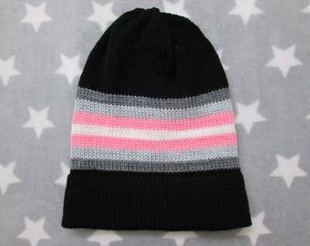 Knit Pride Hat - Demigirl Pride - Black - Slouchy Beanie