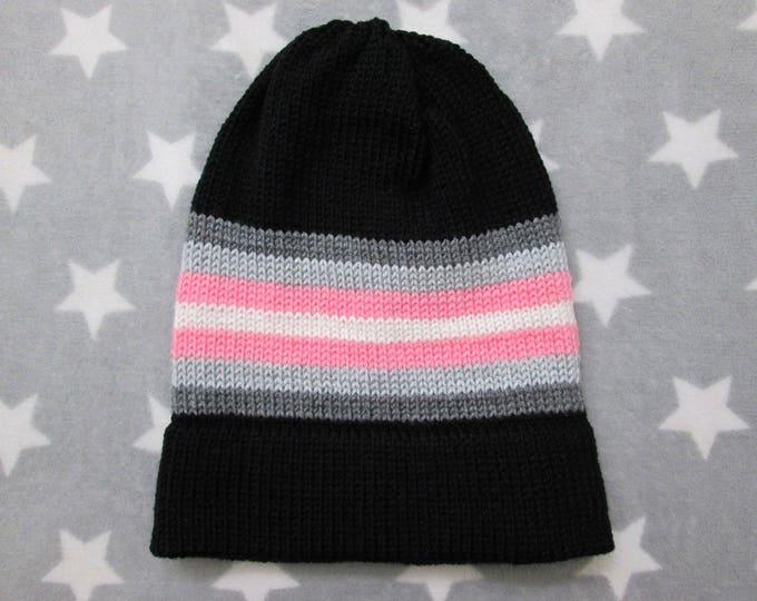 Knit Pride Hat - Demigirl Pride - Black - Slouchy Beanie - Acrylic