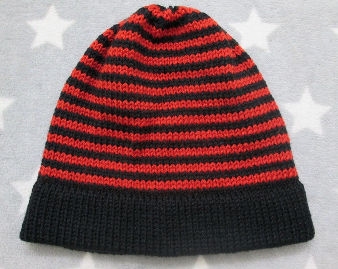 Knit Hat - Red and Black Stripes - Fitted Beanie - Acrylic