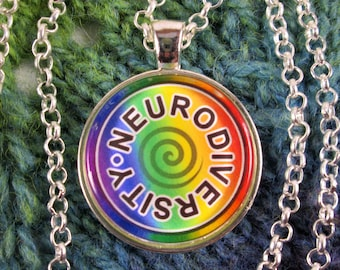 Neurodiversity Necklace - Rainbow - Round Swirl Design - Silver Rolo Chain