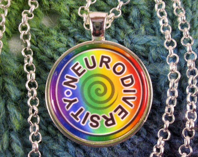 Neurodiversity Necklace - Rainbow - Round Swirl Design - Silver Rolo Chain