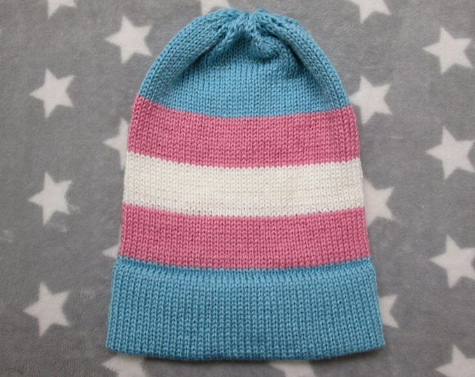 Knit Pride Hat - Trans Pride - Slouchy Beanie - Soft Wool Acrylic Blend