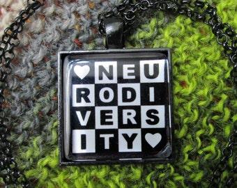Neurodiversity Necklace - Black and White - Square Checker Design - Rolo chain