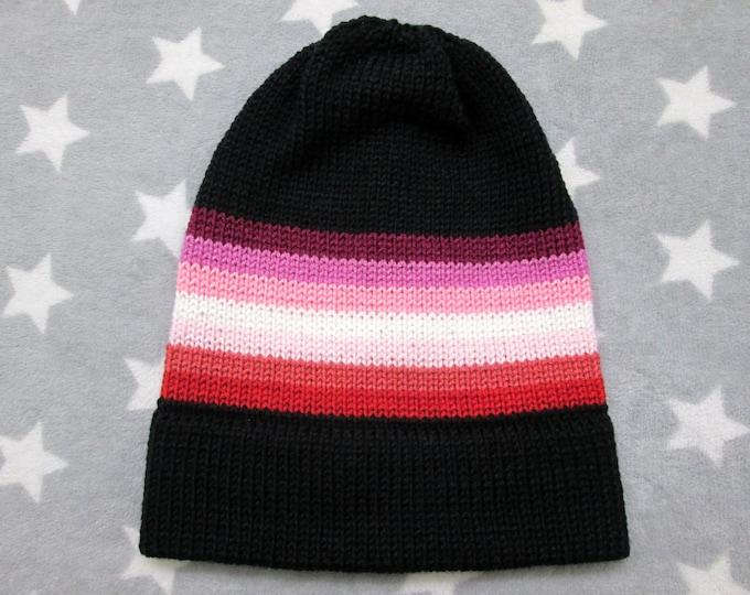 Knit Pride Hat - Lesbian Pride - Black - Slouchy Beanie - Acrylic