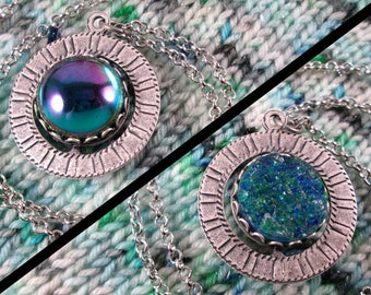 Spinner Pendant Necklace - Silver and Teal Gems - Stim Jewelry
