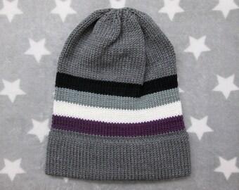 Knit Pride Hat - Ace Pride - Grey Slouchy Beanie - Grey Ace Pride