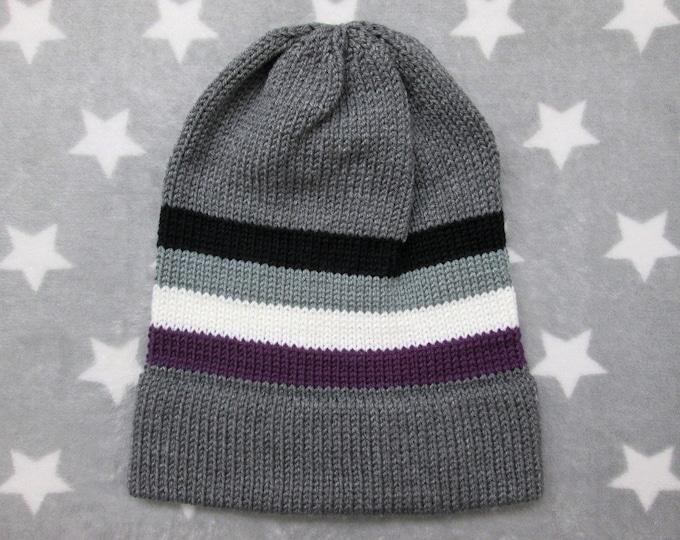 Knit Pride Hat - Ace Pride - Grey Slouchy Beanie - Grey Ace Pride - Acrylic