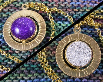 Spinner Pendant Necklace - Gold, Purple & Silver Gems - Stim Jewelry