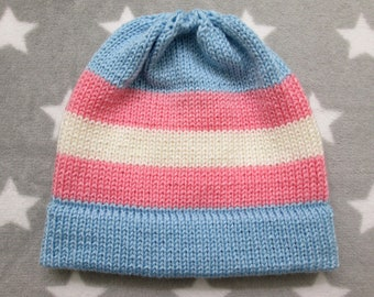 Knit Pride Hat - Trans Pride - Fitted Beanie - Acrylic