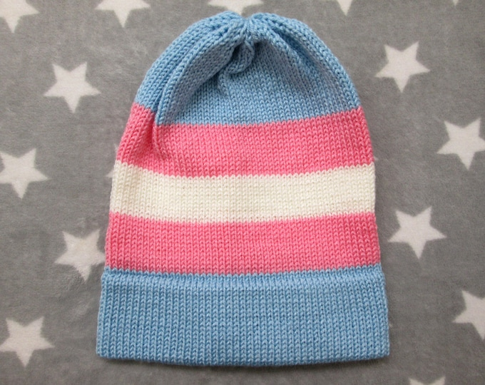Knit Pride Hat - Trans Pride - Slouchy Beanie - Acrylic