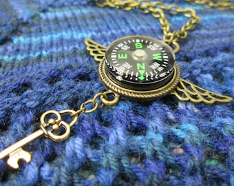 Steampunk Compass Necklace - Green Compass with Wings and Key