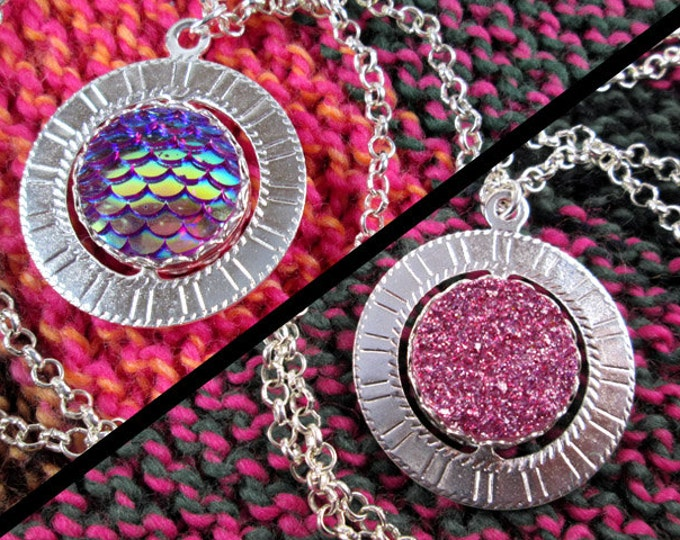 Spinner Pendant Necklace - Silver and Pink - Stim Jewelry